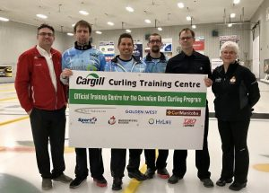 With 2017 Deaf Curling World Champions, Team Canada 2017 From right to left: Mark Kusiak, CDSA President; Kayle Miller; Ross Lavallee; Shawn Demianyk; Alain Turpin, CDSA Executive Director; Chris Hamblin, Olympic Curling Coach, NCCP Level 4. Missing from the picture: John Gessner and David Morton from Team Canada.