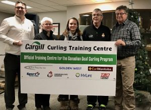 From left to right: Mark Kusiak, CDSA President; Chris Hamblin, Level 4 NCCP Olympic Curling Coach; Shawna Joynt, MDSA Vice-President; Lorne Hamblin, Level 4 NCCP Olympic Curling Coach; and Brian McNaughton, HyTech Production Ltd Co-owner